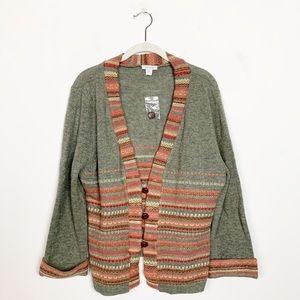 Garnet Hill Fair Isle Wool Cardigan Sweater XL